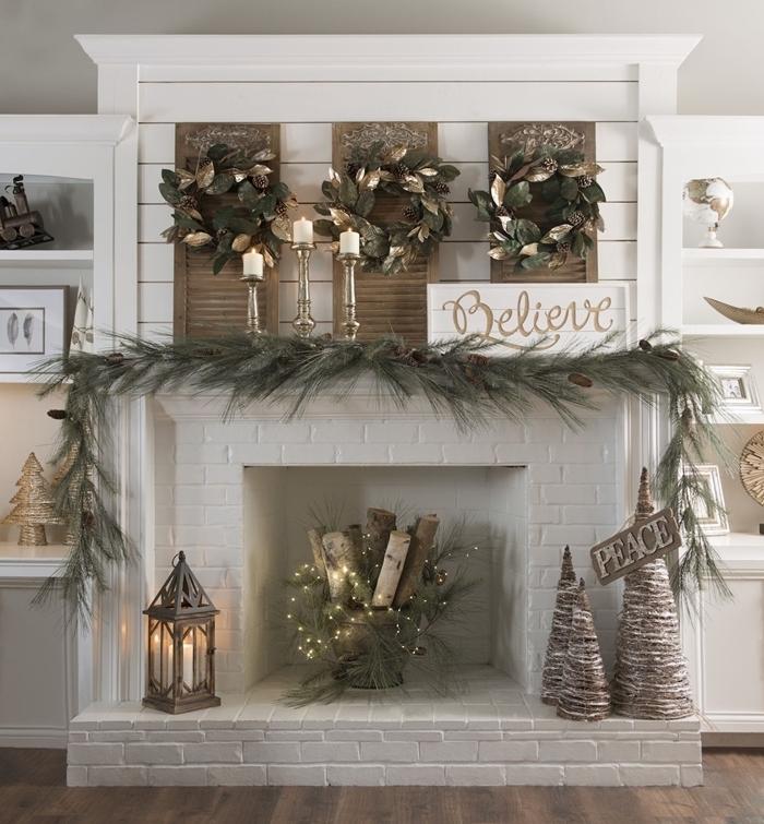 cheminée décorative bougeoir laiton rangement mural étagères blanches décoration de noel à fabriquer en papier