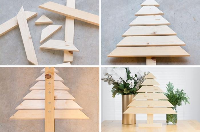 comment faire un arbre de noel facile morceaux de bois bricolage noel pour adulte diy decoration sapin