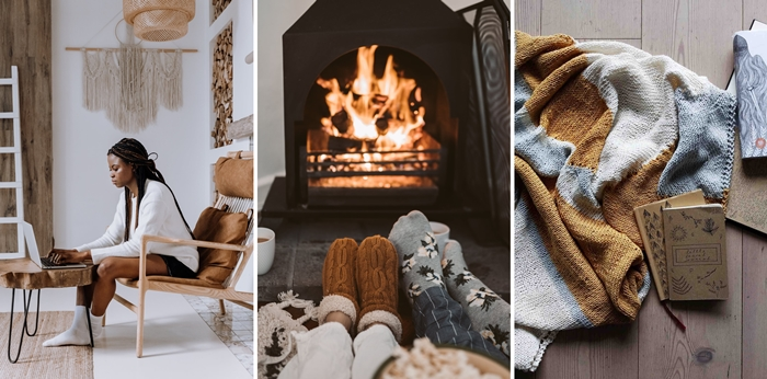 conseils consommation energie facture hiver chauffage interieur decoration cocooning cheminee feu plaid