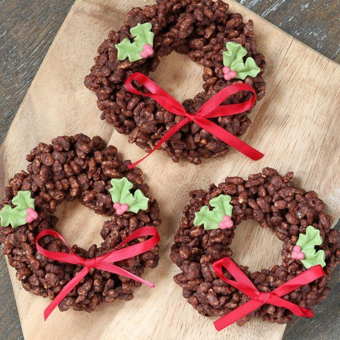 couronne de noel riz souffé au chocolat idée de petit gateau pour noel simple et rapide dessert peu calorique