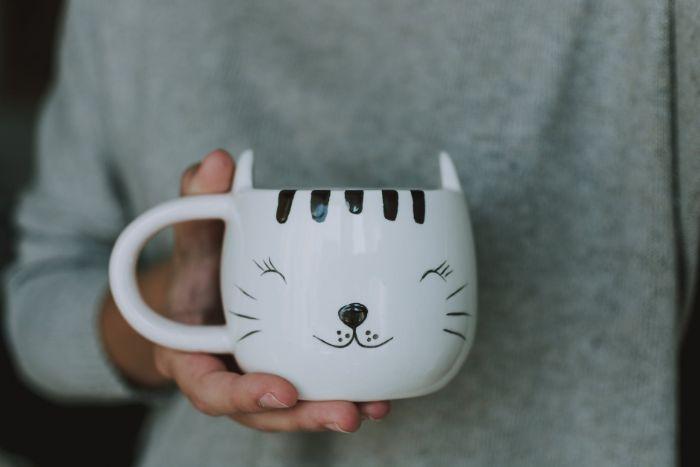 customiser un mug personnalisér sa vaisselle avec des dessins faits au marqueur feutre noir exemple occupation adulte