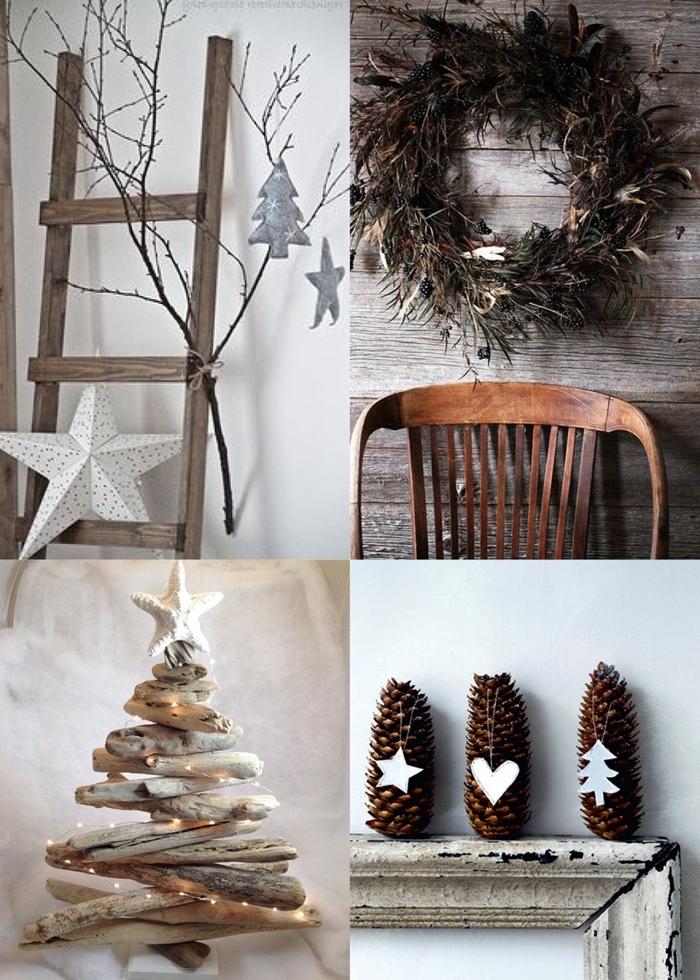 décoration de noel à fabriquer en papier échelle décorative étoile diy papier chaise bois couronne noel branches séchées
