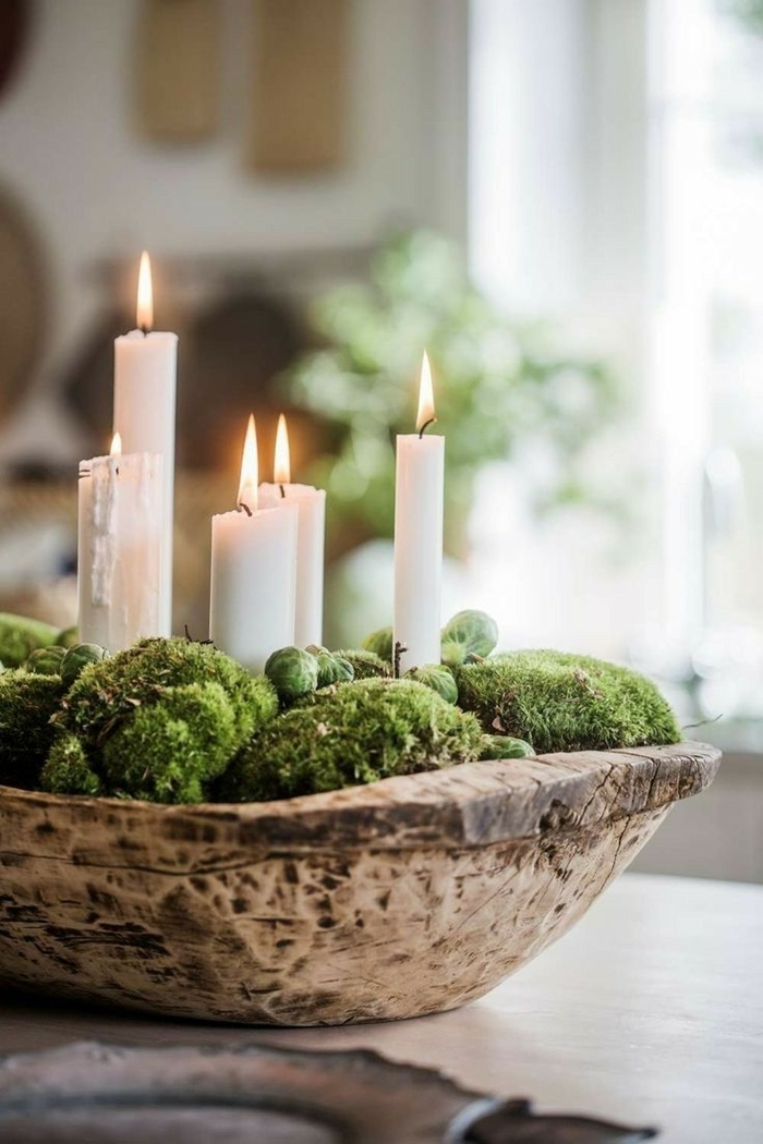 décoration de noel à fabriquer pour adultes centre de table bol bois brut nature mousse verte bougies blanches