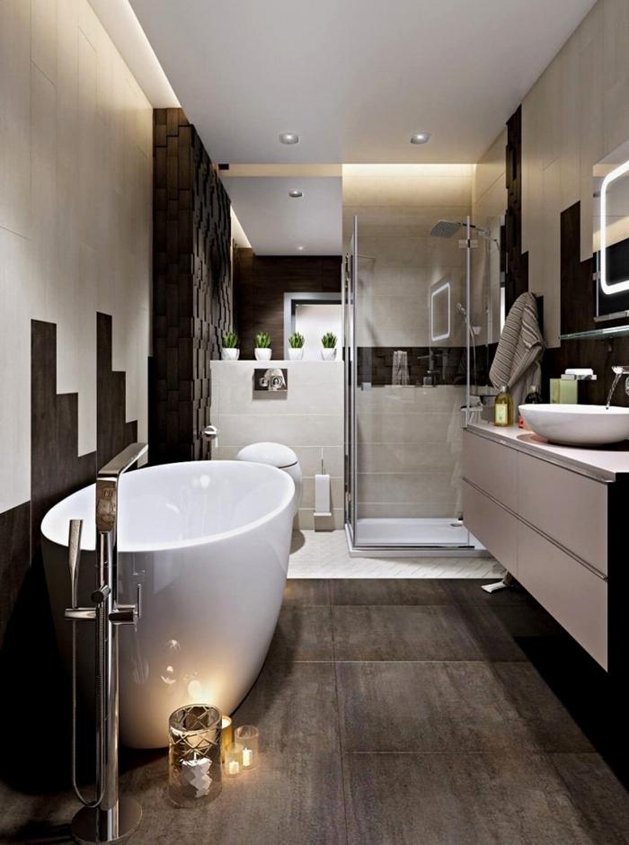 deco salle de bain moderne bougies carrelage dalles foncées meuble sous evier blanc sans poignées miroir led
