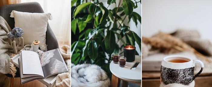 decoration cocooning hygge interieur scandinave plaid tasse boisson chaude hiver astuces facture energie
