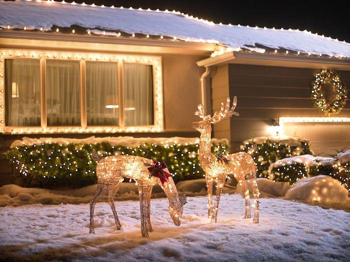 decoration de noel exterieur lumineuse avec des cerfs decoratifs et des arbustes illuminees