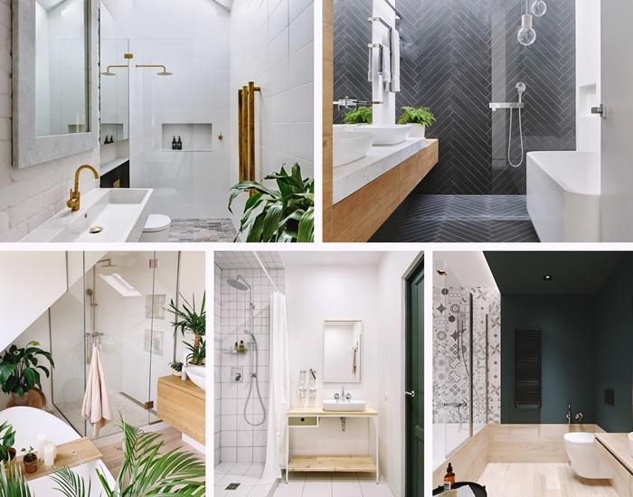 decoration salle de bain en longueur style minimaliste plantes vertes meubles en bois carrelage blanc deco sous pente