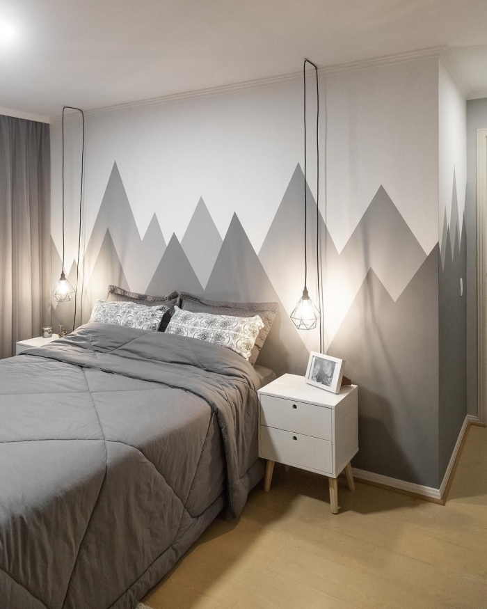 design chambre minimaliste revêtement sol bois meuble chevet blanc cadre photo blanc et noir deco chambre peinture gris et blanc