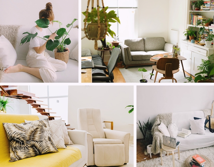 design intérieur canapé housse jaune plante verte intérieur style minimaliste jeté fausse fourrure grise