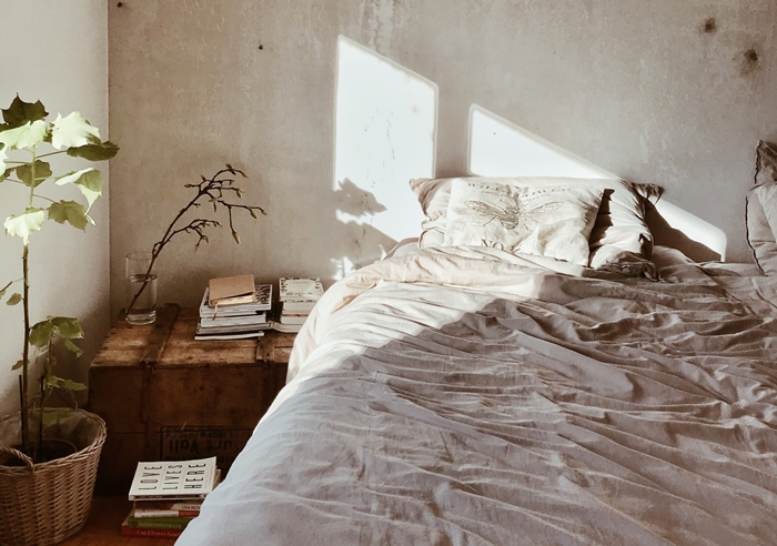 design interieur decoration minimaliste couleurs terreuses idee chambre a coucher cocooning lit livres plante verte