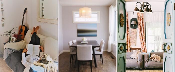 design interieur tendance decoration salon cocooning canape housse grise decoration salle a manger chaises
