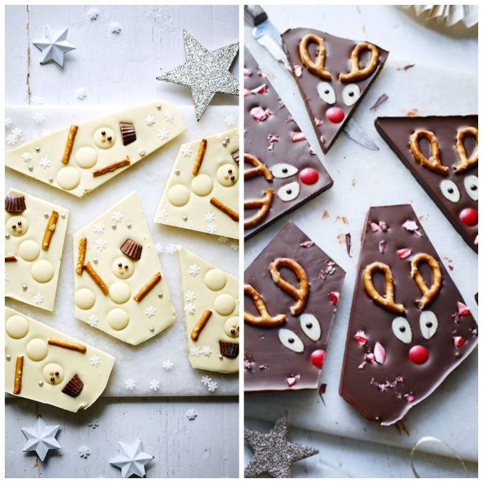 dessert de noel barre au chocolat maison chocolat au lait et chocolat blanc aux bretzels et bonbons idée dessert enfant