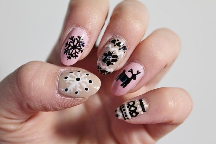 dessin facile sur ongles motifs flocons de neige en vernis noir deco ongle gel base nude ongles rose pâle