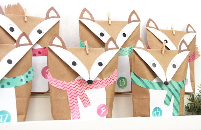 exemple de sachets de papier kraft avec decoration motif renard avec écharpe calendrier de l avent a fabriquer soi meme