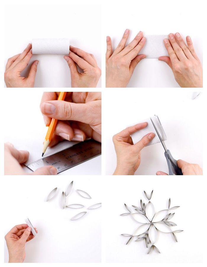 exemple que faire avec des rouleaux de papier toilette pour noel flocons de neige en papier et paillettes a faire soi meme