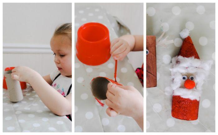 fabriquer deco noel activité avec rouleau papier toilette motif père noel dans rouleau rouge barbe de coton des yeux mobiles