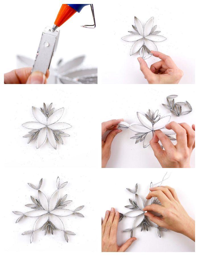 fabriquer deco noel en rouleaux de papier toilette coupés et pailletés décorés de paillettes argent