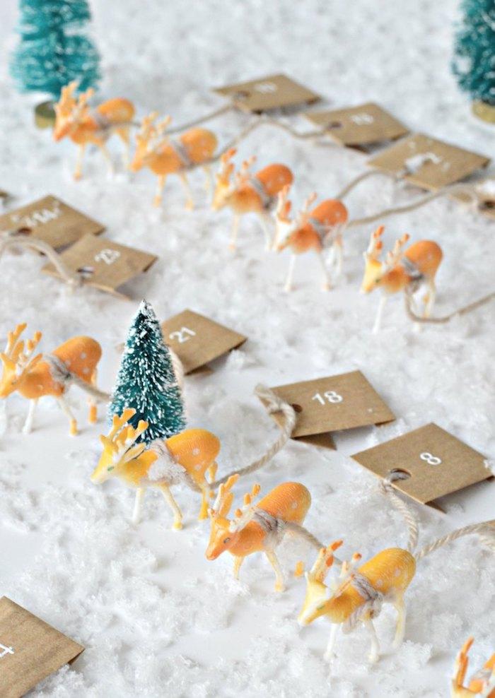 figurines de cerfs avec des étiquettes numéreautés fabriquer son calendrier de l avent facilement bricolage maternelle