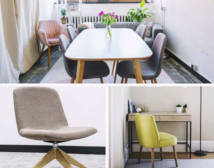 housse chaise bureau gris décoration salle à manger scandinave chaise velours rose poudré housses de chaise