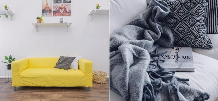 housse de canape jaune decoration interieure moderne salon minimaliste parquet bois meubles jete grosse franges