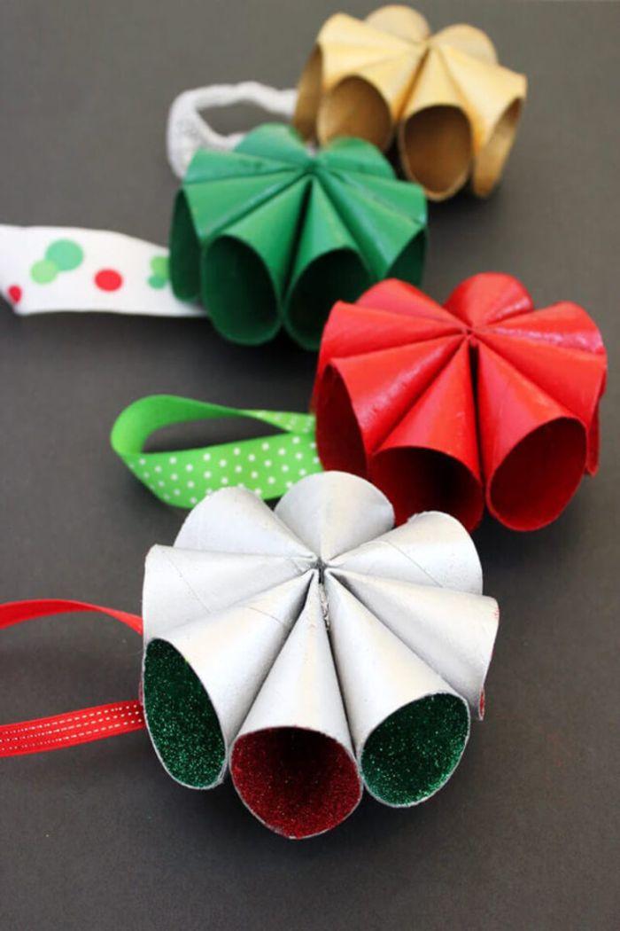 idée de décoration de noel à fabriquer en papier avec paillettes à l intérieur ornement noel original diy