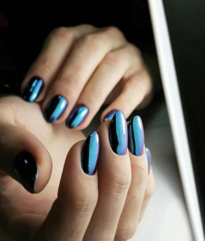 manucure tendance hiver 2020 effet métallique ongles miroir ongle en gel bleu idée de manucure sombre