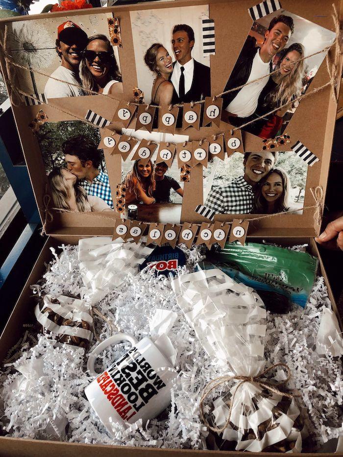 meilleur cadeau d annversaire une boite avec des photos colles une tasse de the et des artciles aimés par notre ami