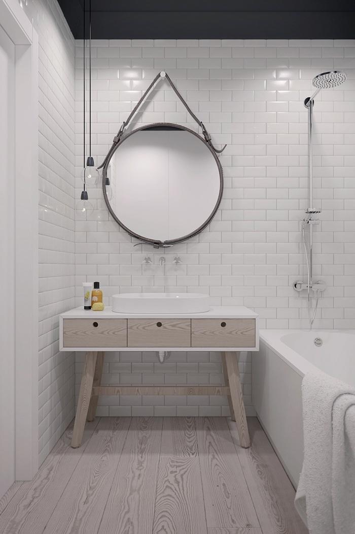 miroir rond style industriel meuble sous évier blanc et bois esprit scandinave salle de bain douche et baignoire