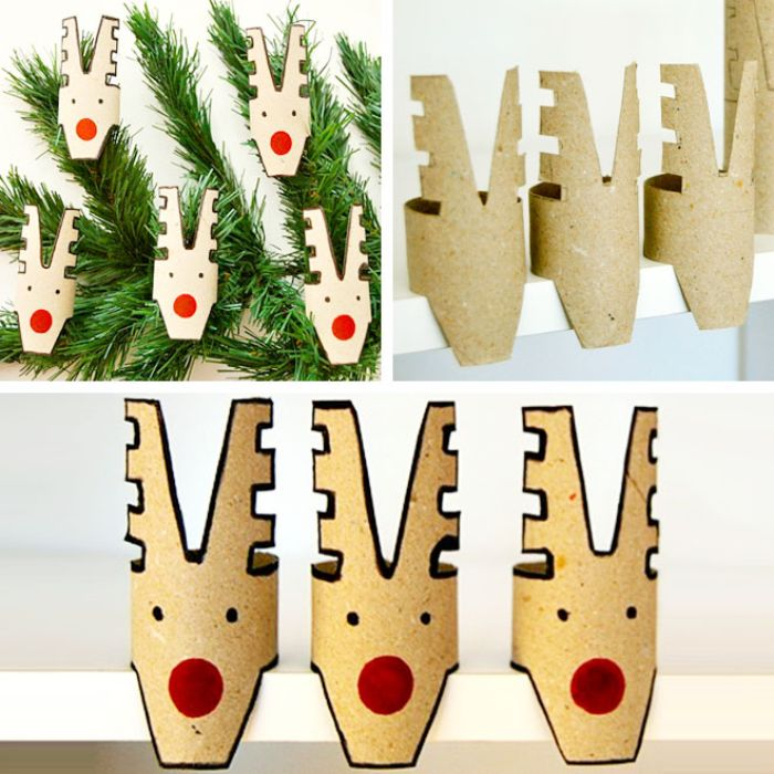 motif rudolphe le renne de pere noel en rouleaux de papier toilette recycés et décorés à motif de noel au feutres