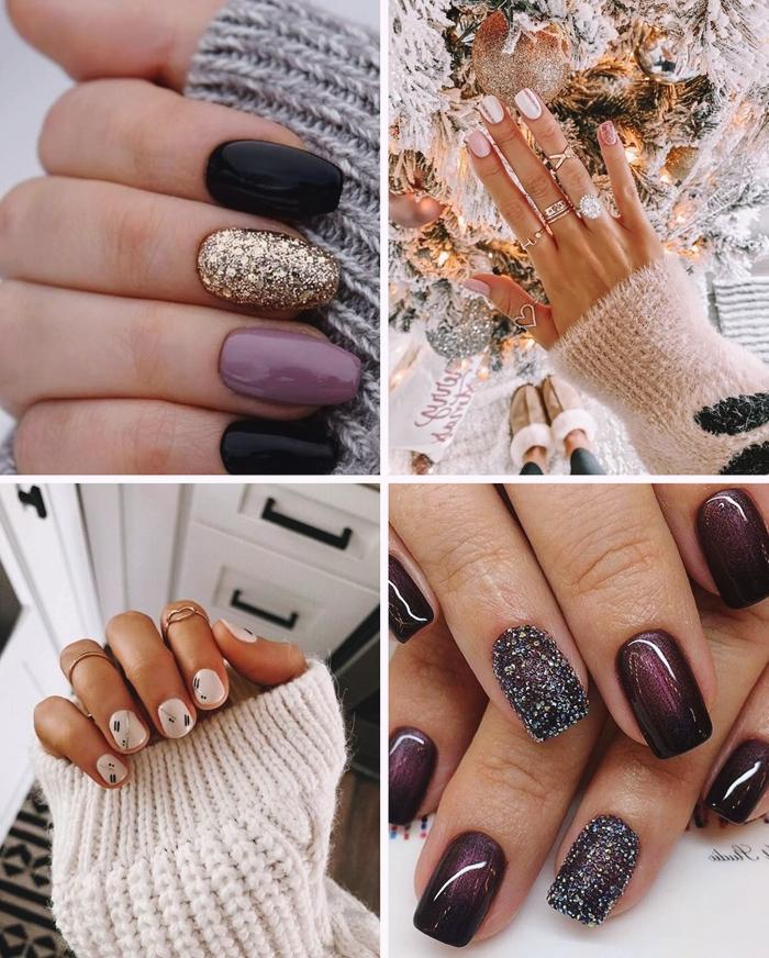 nail art tendance vernis couleur violet manucure nude avec dessin facile sur ongles motifs geometrique ongles minimaliste