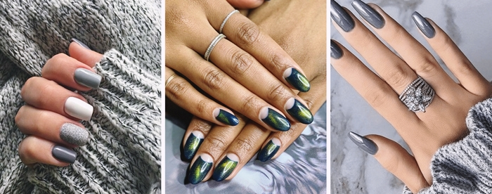 ongle en gel couleur tendance ongles longs manucure noel vernis gris nail art facile tendance hiver 2020