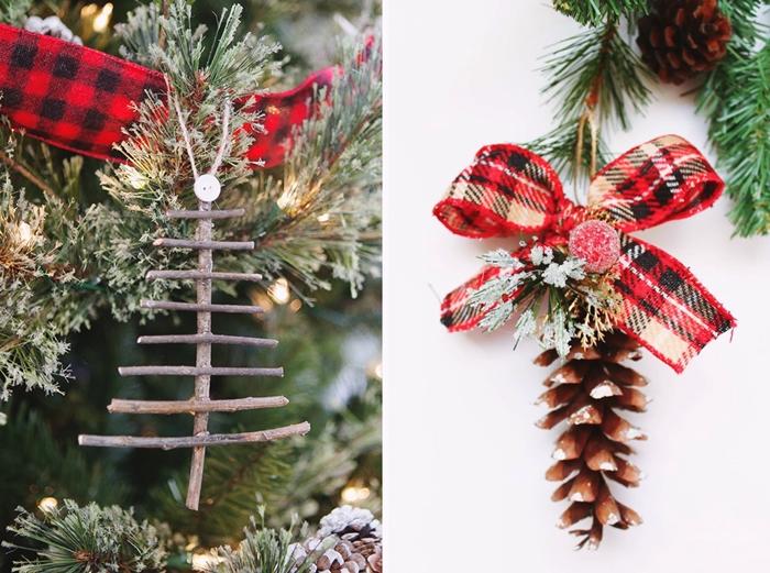 ornement de sapin fait maison baton bois mini arbre de noel suspendue en branches sechees pommes de pin