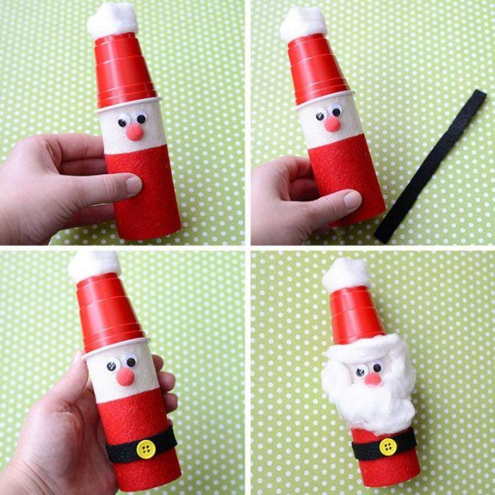 père noel dans rouleau de papier toilette décoré de peinture rouge de syeux mobiles chapeau en gobelet coton pour la barbe activité avec rouleau papier toilette