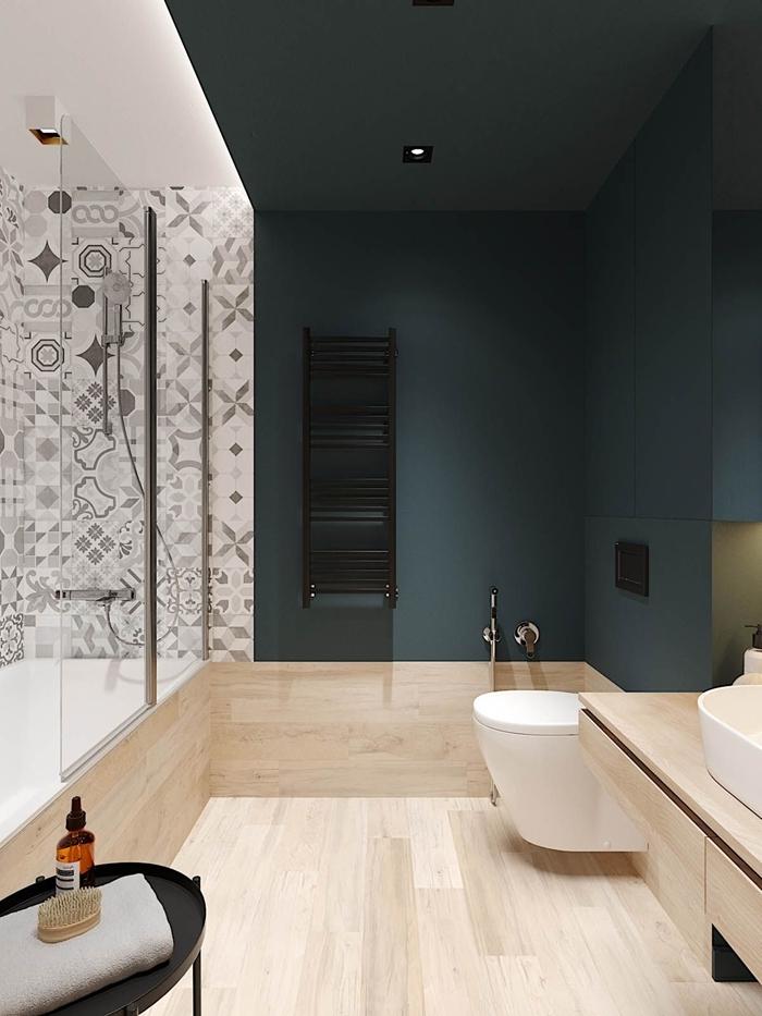 peinture murale vert foncé design intérieur style moderne salle de bain baignoire et douche carrelage imitation bois