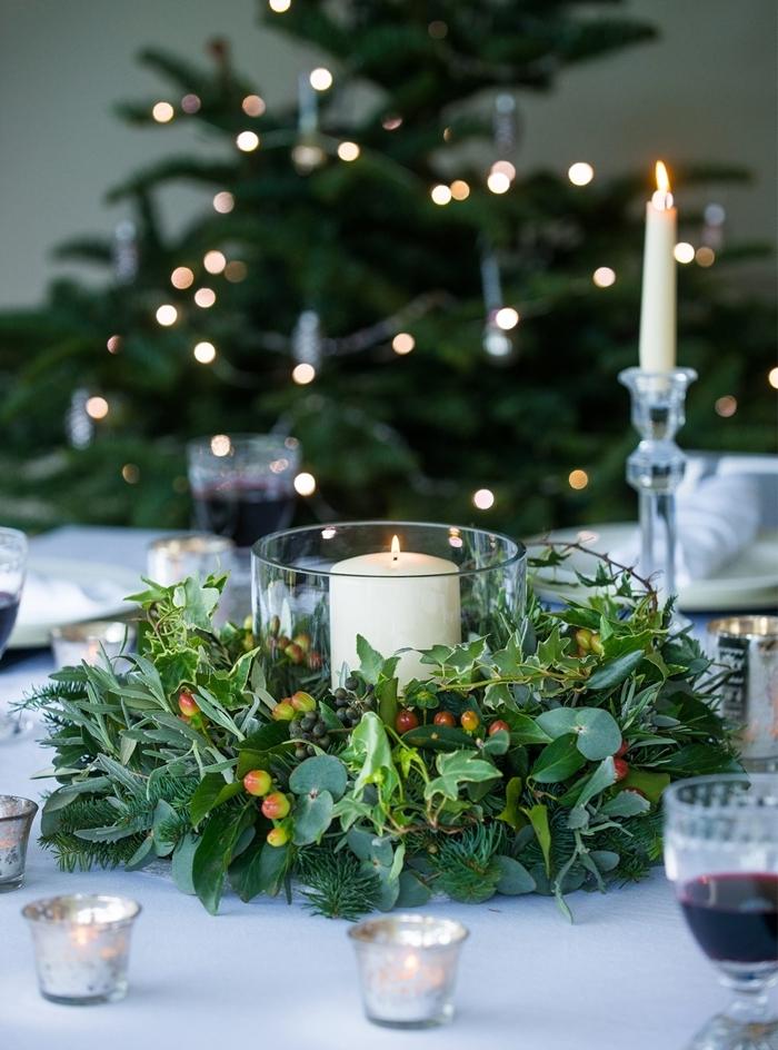 pinterest deco noel bougie blanche récipient verre arbre de noel minimaliste guirlande lumineuse verre vin rouge
