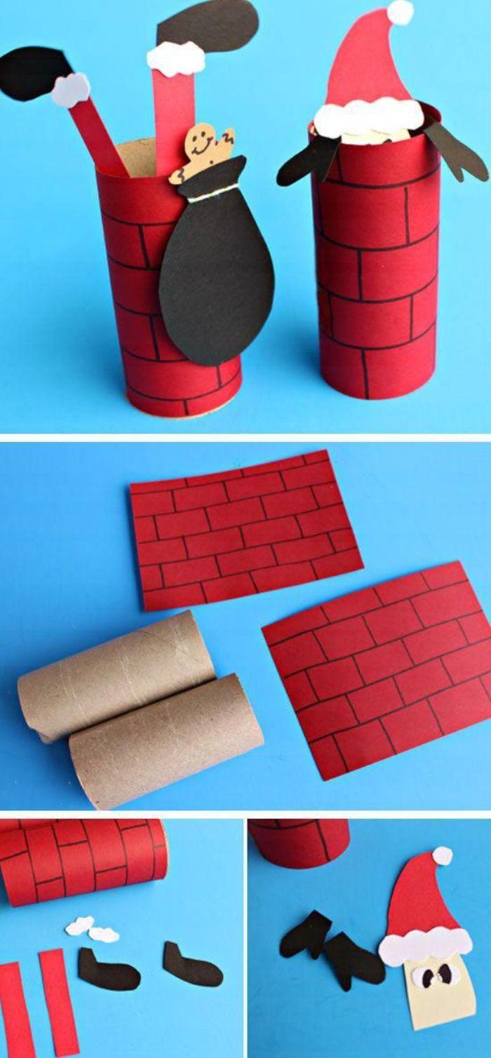 que faire avec des rouleaux de papier toilette idees de bricolage pour tout petit simple rouleau enveloppée de papier imtation pere noel entre dans cheminée
