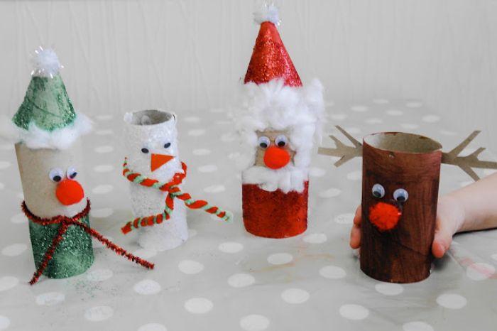 que faire avec des rouleaux de papier toilette pour noel idée de personnages de noel en papier rudolph père noel elf bonhomme de neige