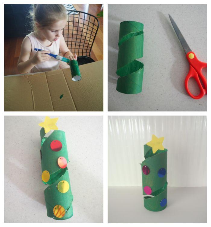 que faire avec des rouleaux de papier toilette rouleau peint de vert avec deco sequins colorés et étoile papier jaune