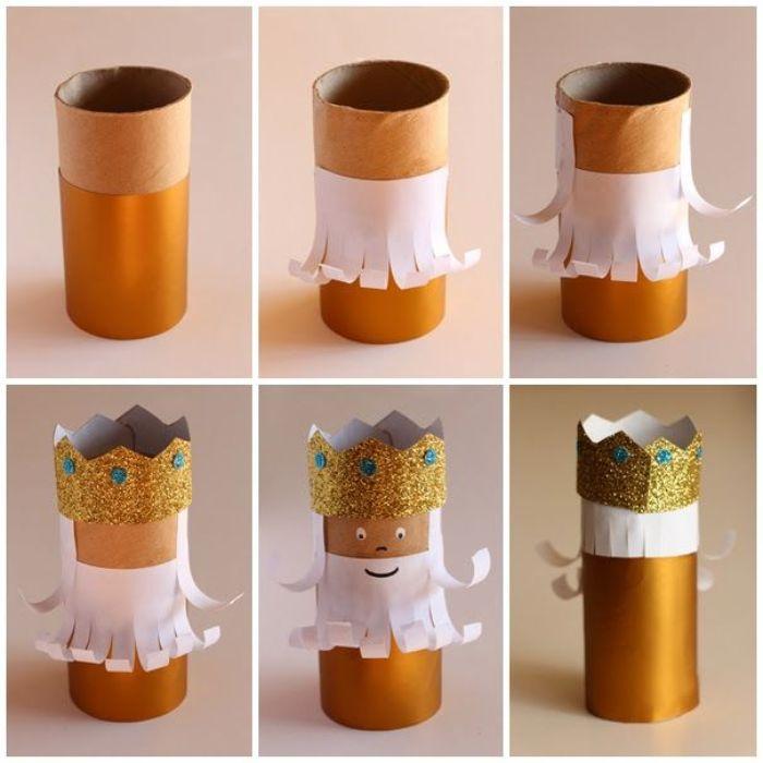 rois mages pere noel dans rouleau de papier toilette doré avec couronne pailletée et barbre blanche