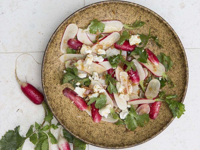 salade de bettereaves avec des radis et frommage garni de persil et servi dans une assiette mosaique