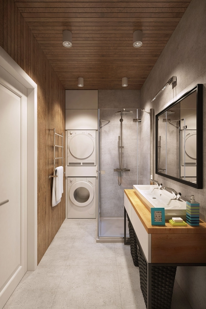 salle de bain italienne petite surface décoration moderne revêtement plafond panneaux bois spots led