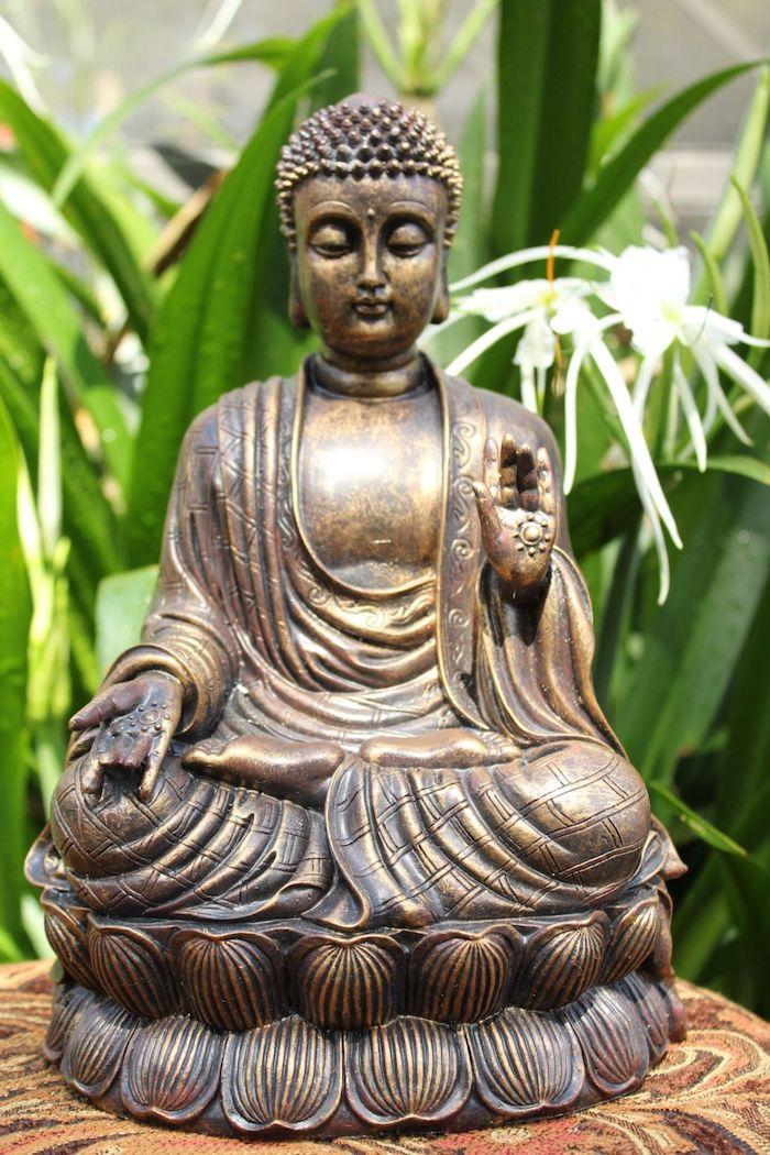 statue bouddha de la protection devant des plantes vertes la main levee