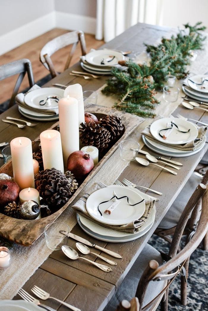 table bois deco table noel a fabriquer style rustique centre table plateau bois fruits bougies pommes de pin sapin branches
