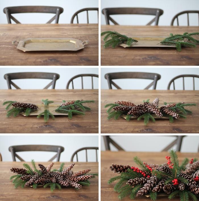 tutoriel comment arranger branches de sapin et de baies rouges pour faire centre de table noel materiaux nature