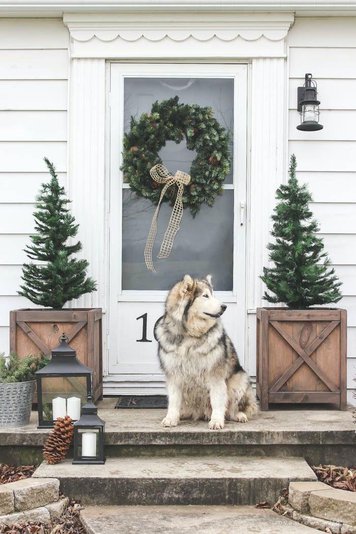 une decoration de noel avec deux arbustes a deux cotes de la porte d entrée avec une cournne unique sur la porte