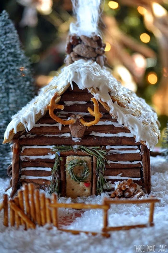 une maison en pain d épices cabin long montagneuse décoree ave des mini bretzels