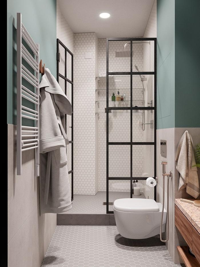 verrière éclairage plafond spots led carrelage blanc motifs héxagonaux déco petite salle de bain cuvette wc suspendue