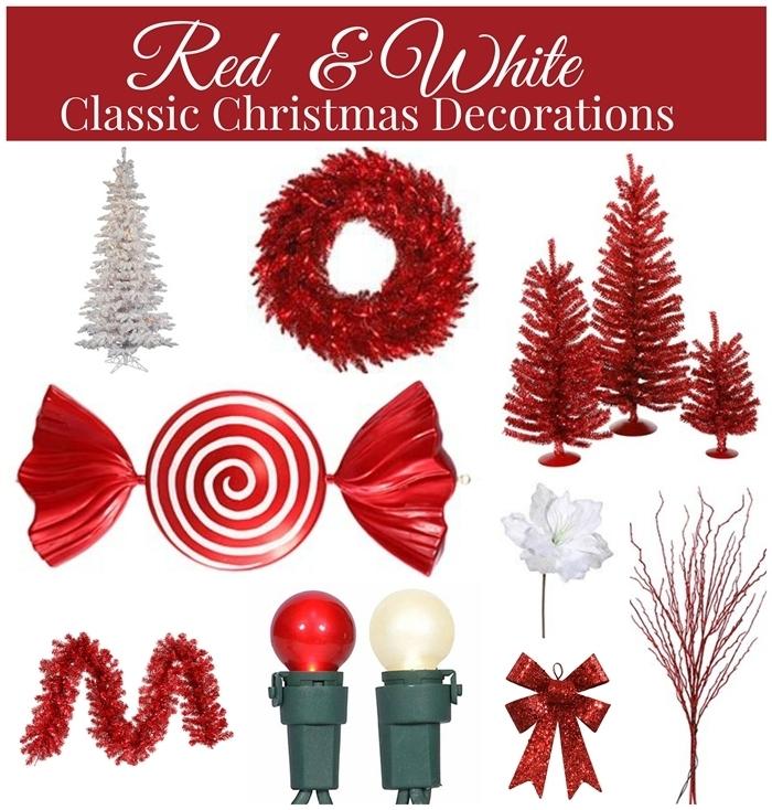 éléments décoration arbre de noel sur thème blanc et rouge couronne de noel comment decorer un sapin
