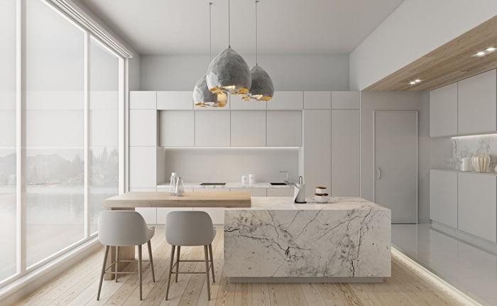 aménagement cuisine équipée blanche avec îlot repas table plan de travail bois îlot marbre blanc