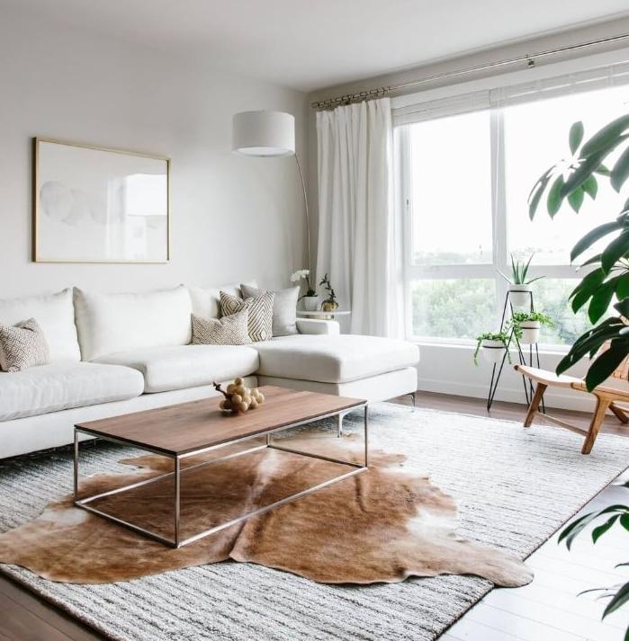 ambiance cosydans un salon scandinave minimaliste aux murs et canapé blancs table basse bois sur tapis blanc parquet bois marron plantes vertes d intérieur